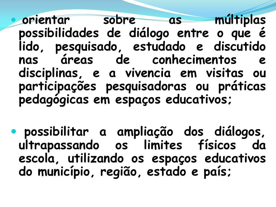 orientar sobre as múltiplas possibilidades de diálogo entre o que é lido, pesquisado, estudado e discutido nas áreas de conhecimentos e disciplinas, e a vivencia em visitas ou participações pesquisadoras ou práticas pedagógicas em espaços educativos;