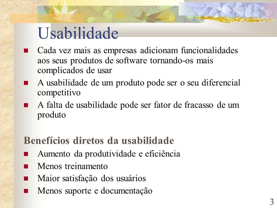 Usabilidade Benefícios diretos da usabilidade
