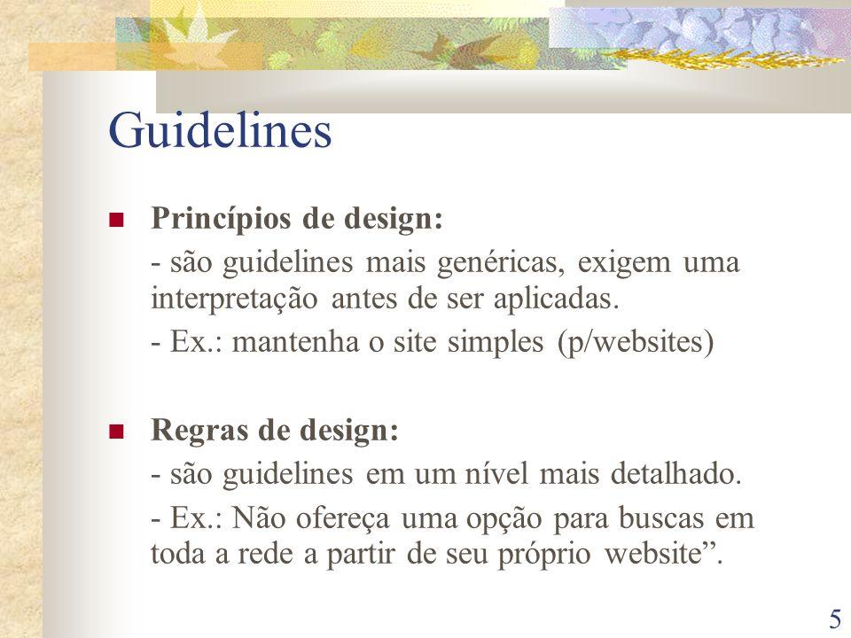 Guidelines Princípios de design: