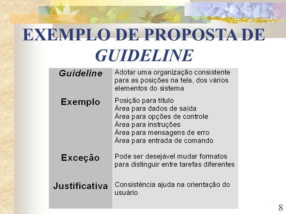 EXEMPLO DE PROPOSTA DE GUIDELINE