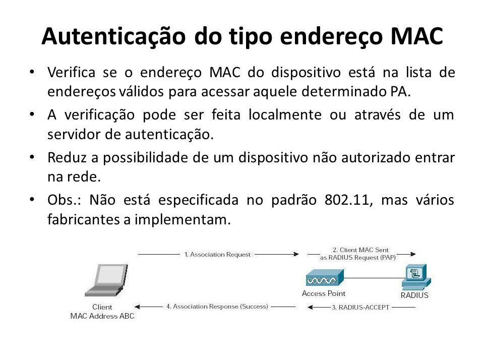 Autenticação do tipo endereço MAC