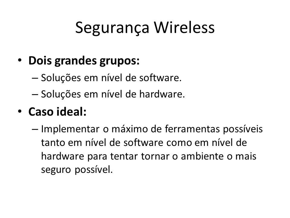 Segurança Wireless Dois grandes grupos: Caso ideal: