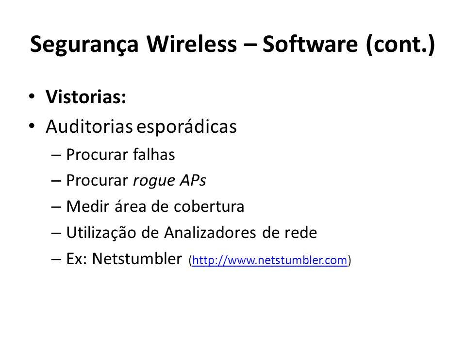 Segurança Wireless – Software (cont.)
