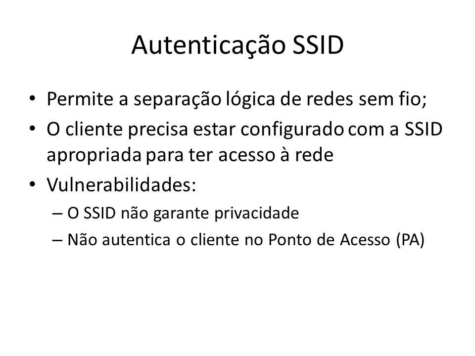 Autenticação SSID Permite a separação lógica de redes sem fio;