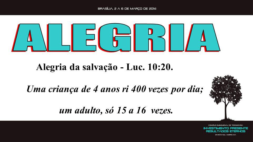 ALEGRIA Alegria da salvação - Luc. 10:20.