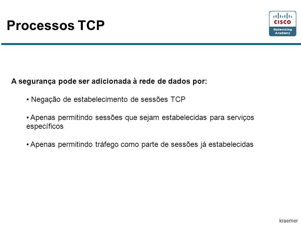 Processos TCP A segurança pode ser adicionada à rede de dados por: