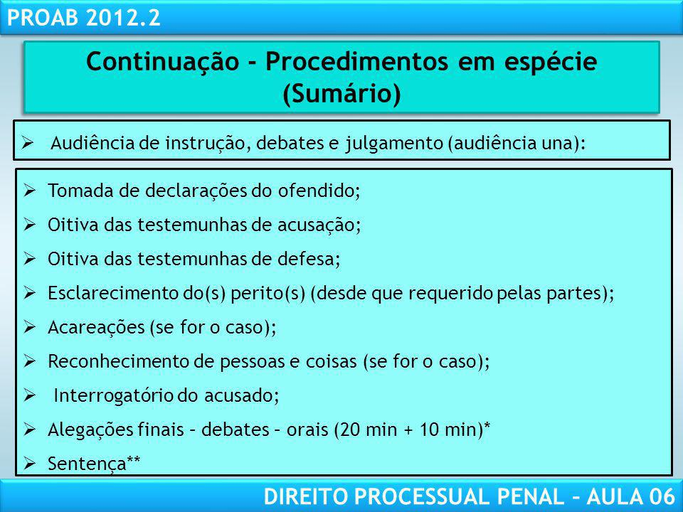 Continuação - Procedimentos em espécie (Sumário)