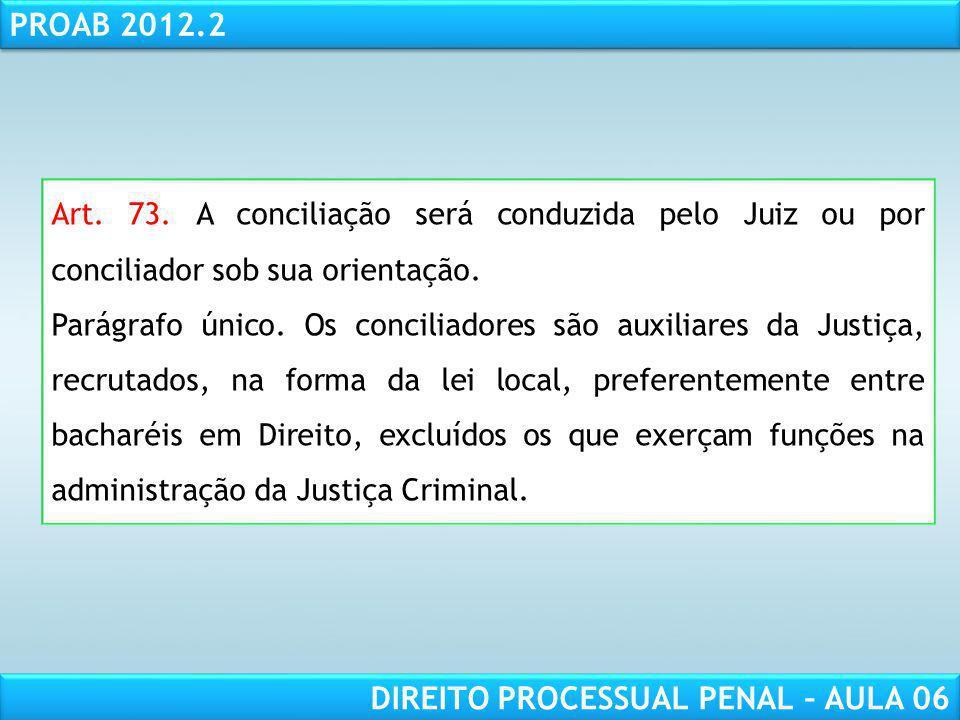 Art. 73. A conciliação será conduzida pelo Juiz ou por conciliador sob sua orientação.