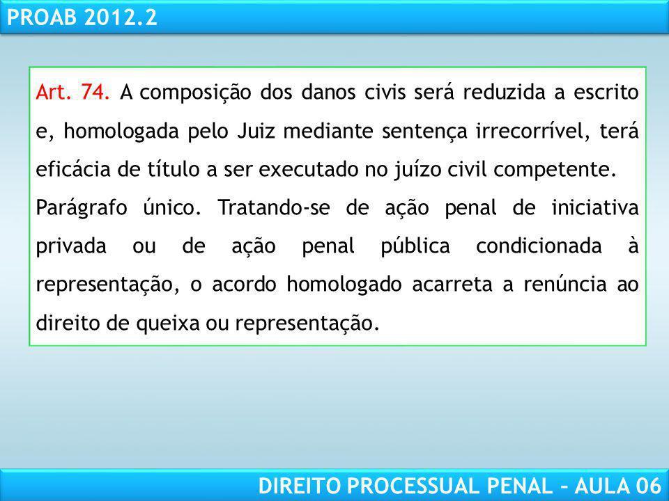 Art. 74. A composição dos danos civis será reduzida a escrito e, homologada pelo Juiz mediante sentença irrecorrível, terá eficácia de título a ser executado no juízo civil competente.
