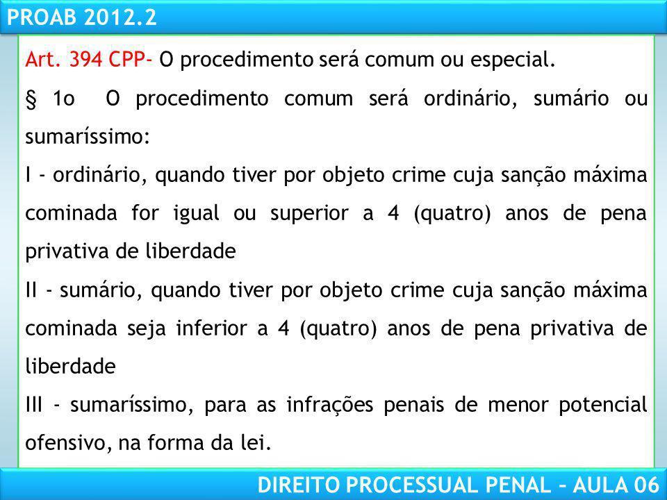 Art. 394 CPP- O procedimento será comum ou especial.