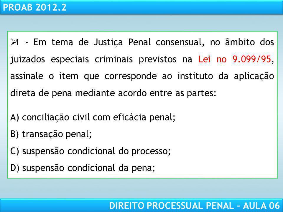 1 - Em tema de Justiça Penal consensual, no âmbito dos juizados especiais criminais previstos na Lei no 9.099/95, assinale o item que corresponde ao instituto da aplicação direta de pena mediante acordo entre as partes: