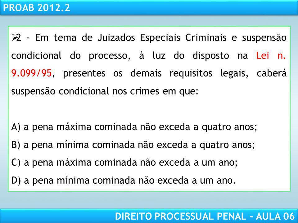 2 - Em tema de Juizados Especiais Criminais e suspensão condicional do processo, à luz do disposto na Lei n. 9.099/95, presentes os demais requisitos legais, caberá suspensão condicional nos crimes em que:
