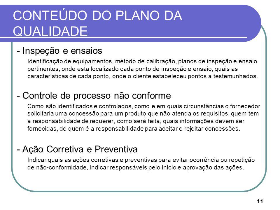 CONTEÚDO DO PLANO DA QUALIDADE - Inspeção e ensaios