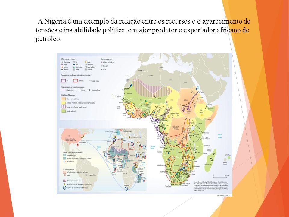 A Nigéria é um exemplo da relação entre os recursos e o aparecimento de tensões e instabilidade política, o maior produtor e exportador africano de petróleo.