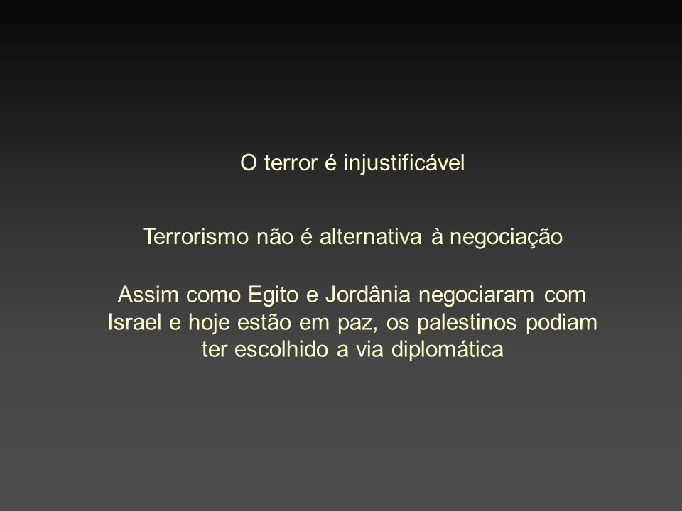 O terror é injustificável