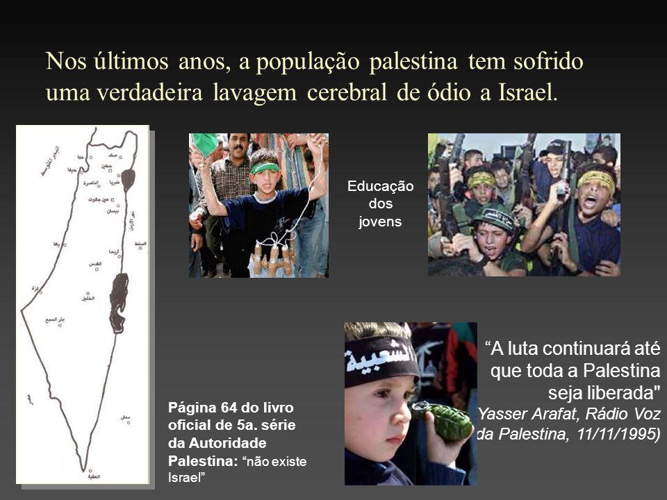 Nos últimos anos, a população palestina tem sofrido uma verdadeira lavagem cerebral de ódio a Israel.