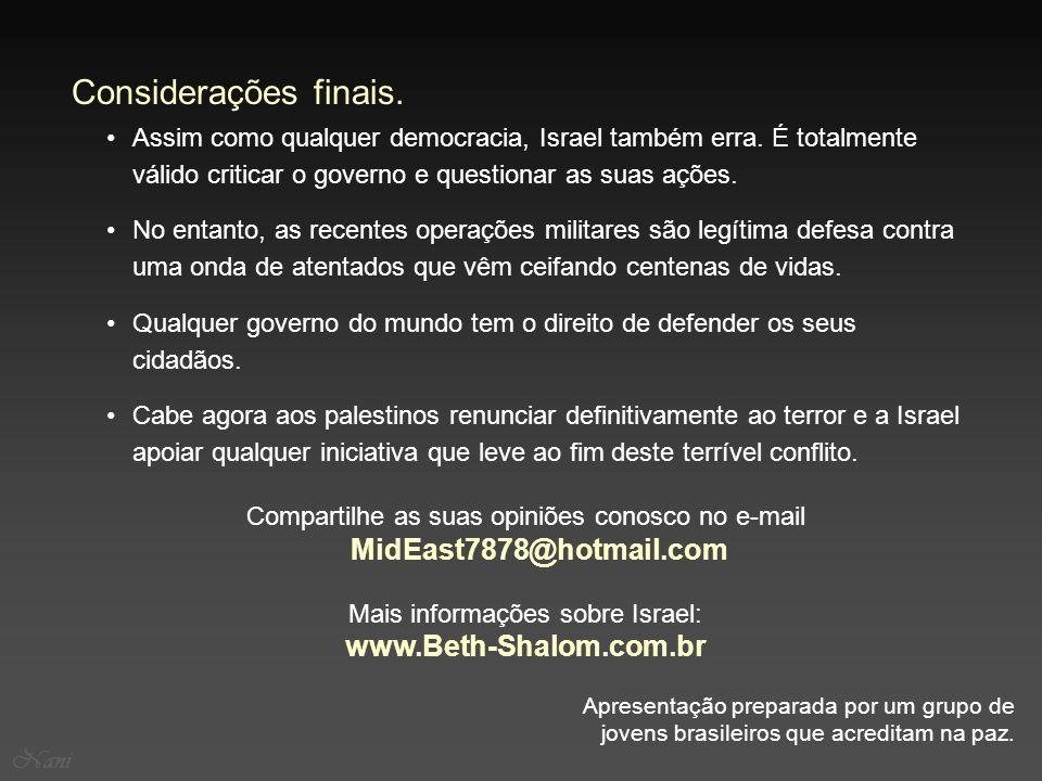 Considerações finais. www.Beth-Shalom.com.br