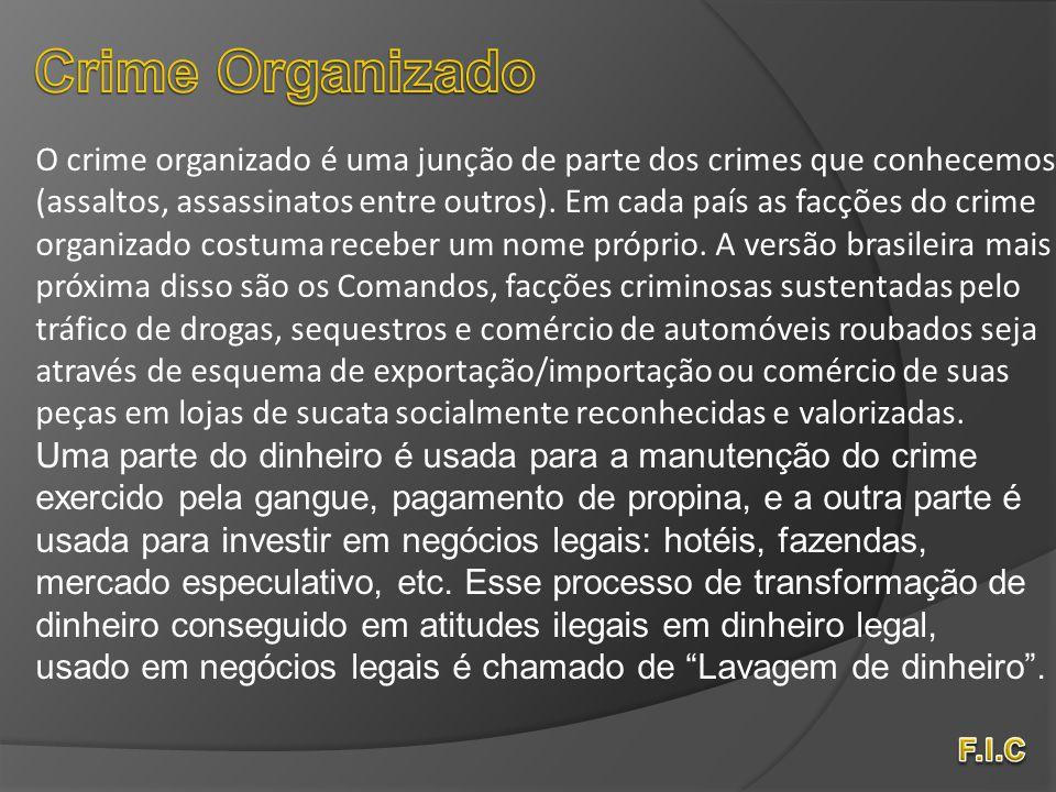 Crime Organizado O crime organizado é uma junção de parte dos crimes que conhecemos.