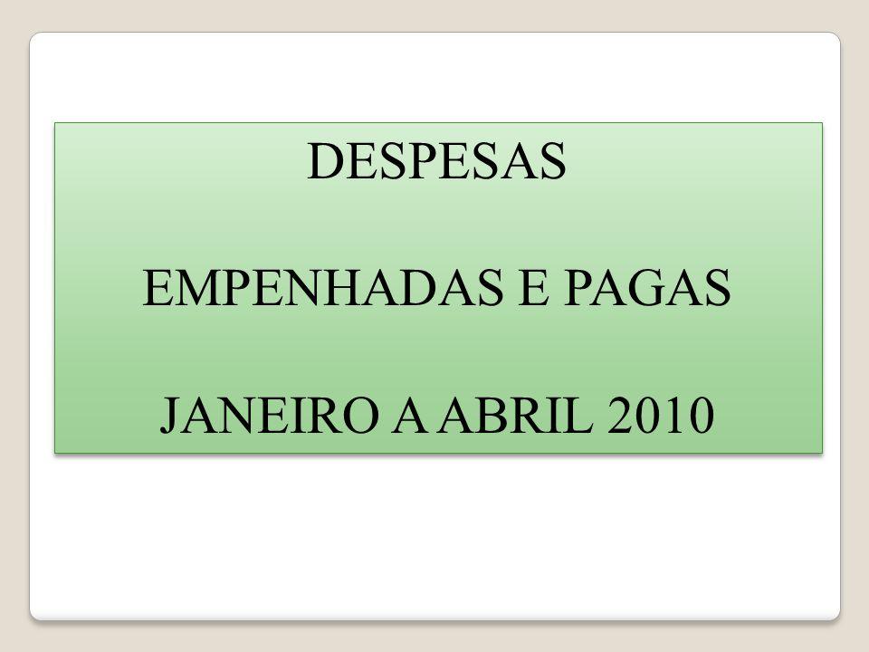 DESPESAS EMPENHADAS E PAGAS JANEIRO A ABRIL 2010