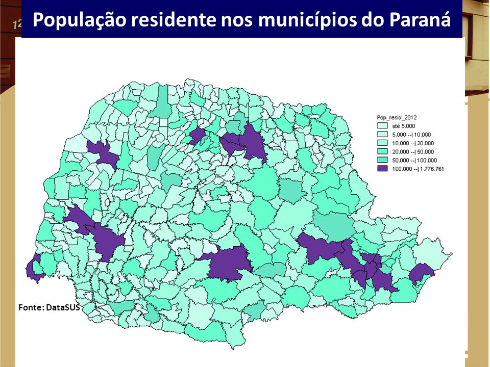 População residente nos municípios do Paraná