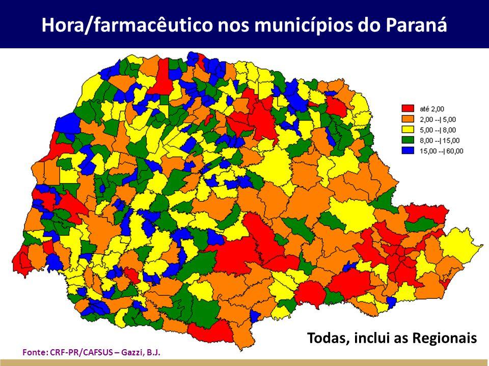 Hora/farmacêutico nos municípios do Paraná