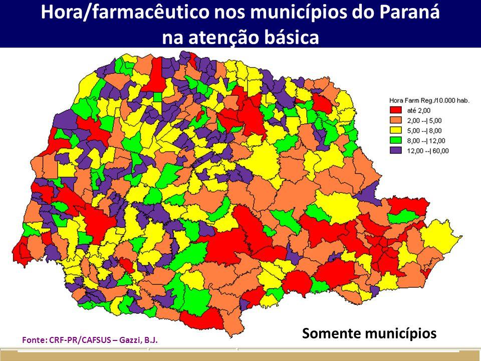 Hora/farmacêutico nos municípios do Paraná na atenção básica
