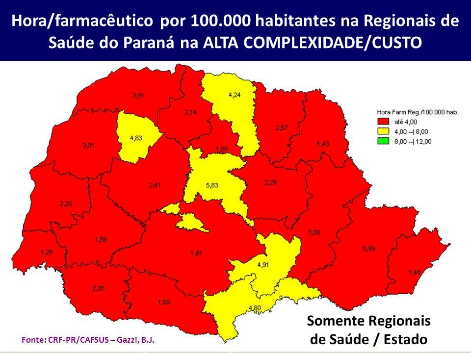 Somente Regionais de Saúde / Estado