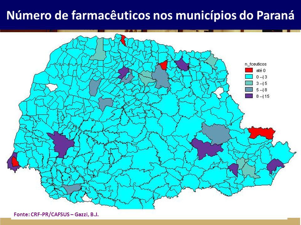 Número de farmacêuticos nos municípios do Paraná