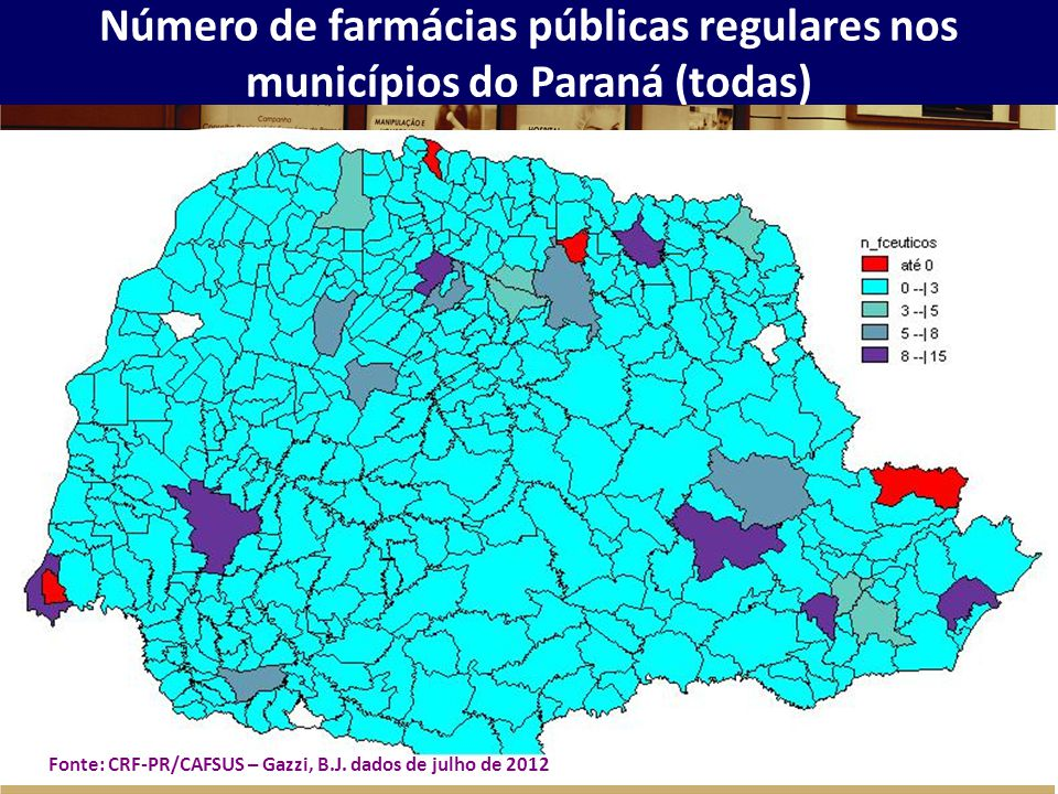 Número de farmácias públicas regulares nos municípios do Paraná (todas)