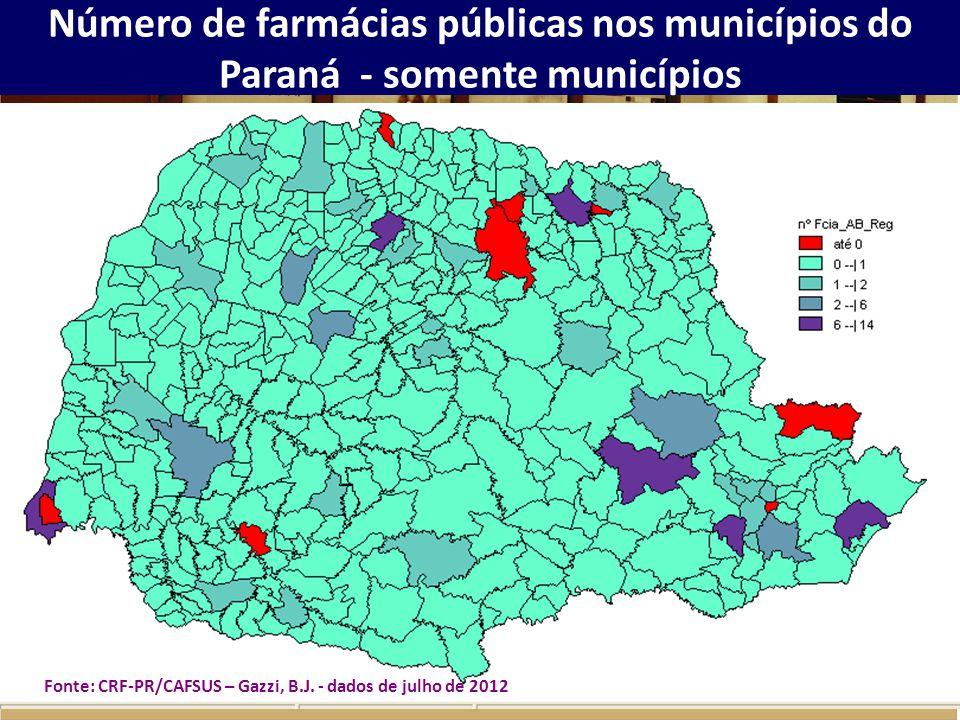 Número de farmácias públicas nos municípios do Paraná - somente municípios