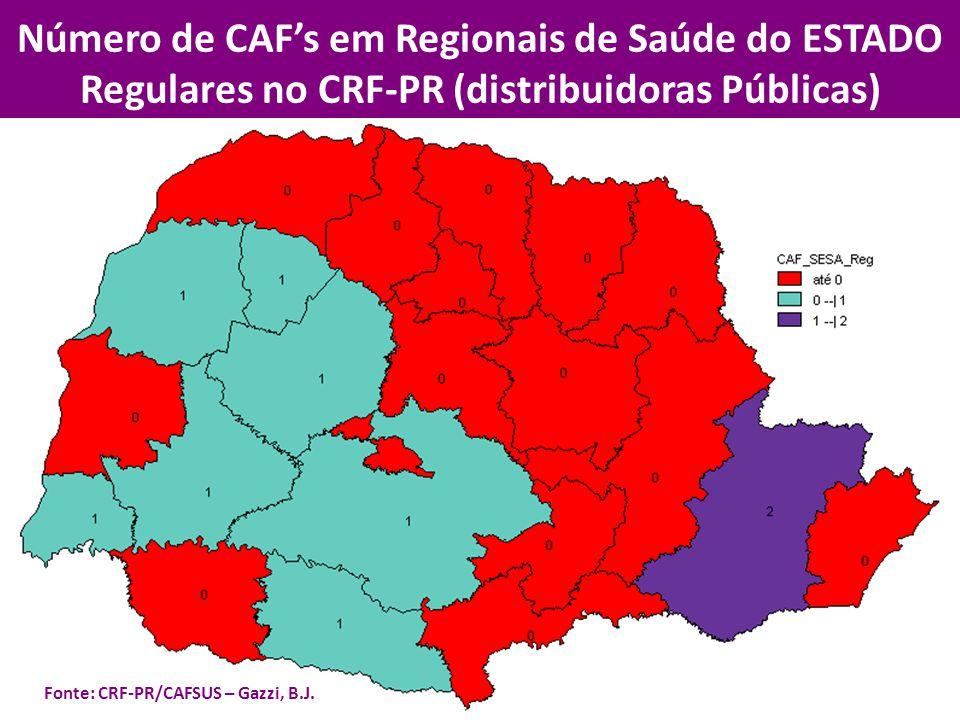 Número de CAF's em Regionais de Saúde do ESTADO Regulares no CRF-PR (distribuidoras Públicas)