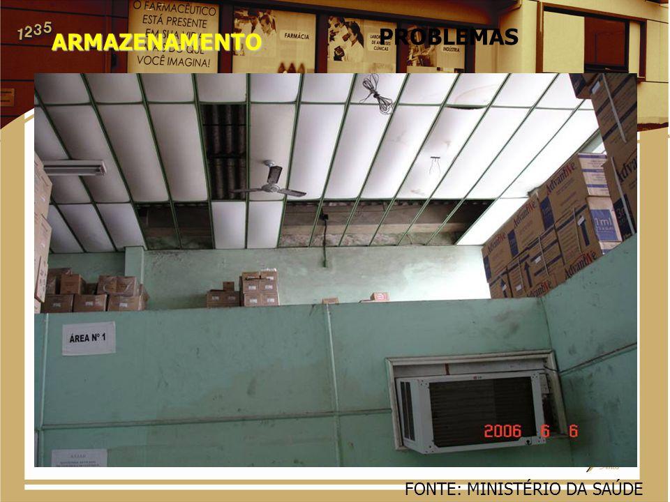 PROBLEMAS ARMAZENAMENTO FONTE: MINISTÉRIO DA SAÚDE