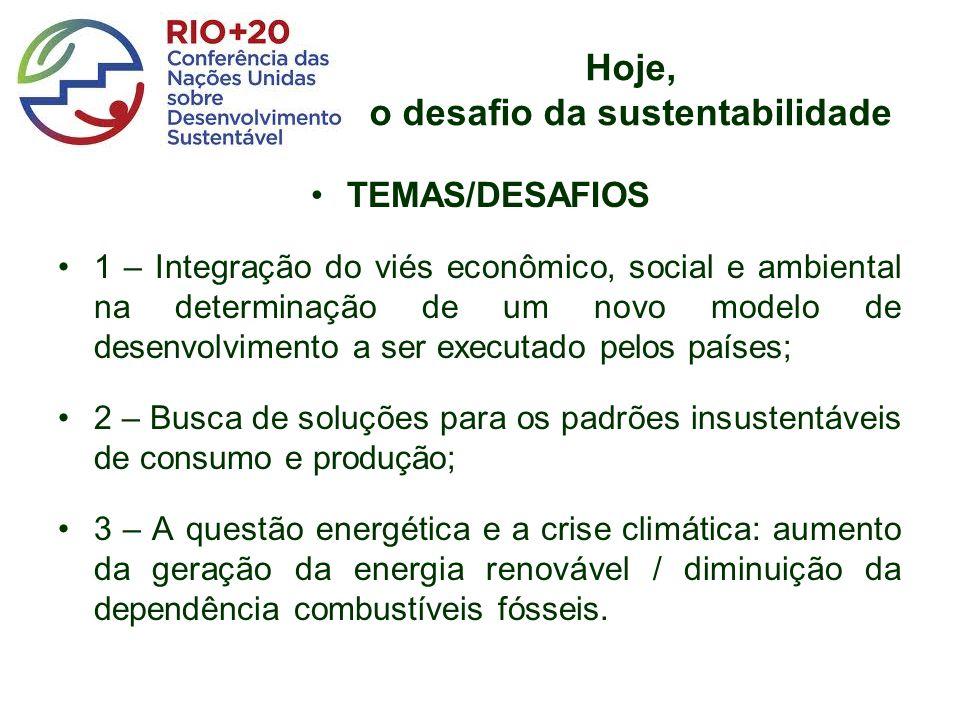 Hoje, o desafio da sustentabilidade