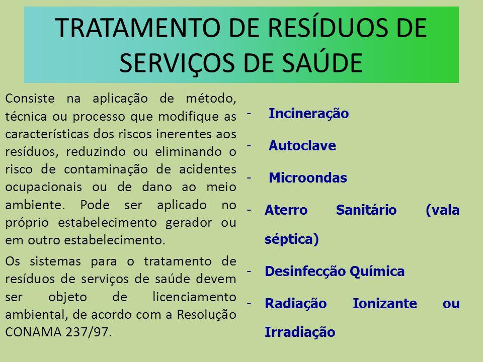 TRATAMENTO DE RESÍDUOS DE SERVIÇOS DE SAÚDE