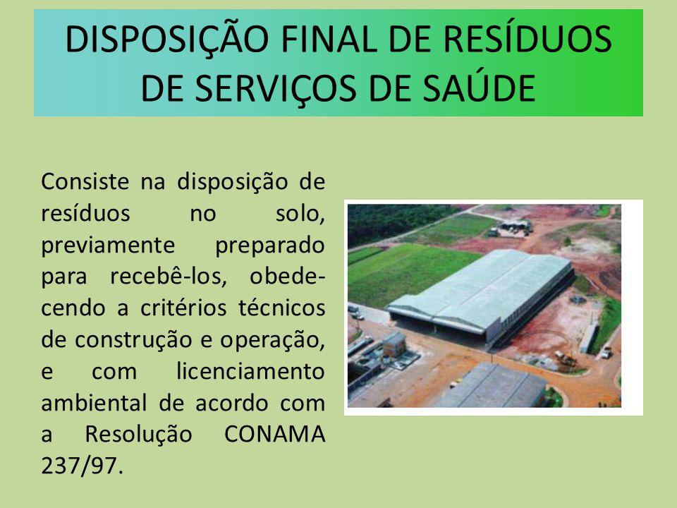 DISPOSIÇÃO FINAL DE RESÍDUOS DE SERVIÇOS DE SAÚDE