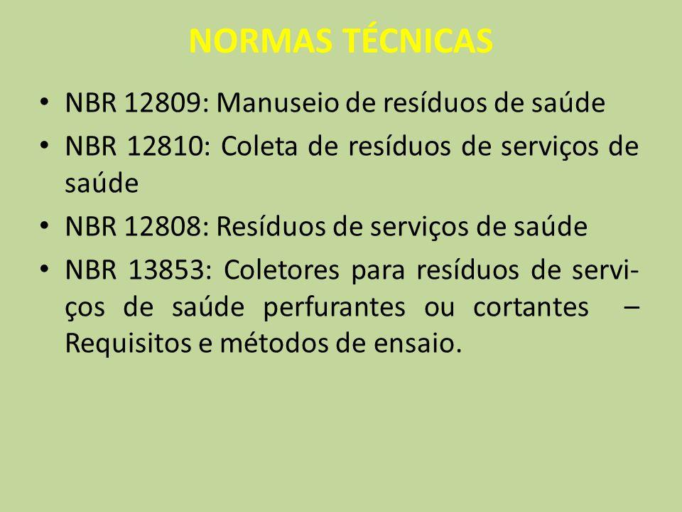 NORMAS TÉCNICAS NBR 12809: Manuseio de resíduos de saúde