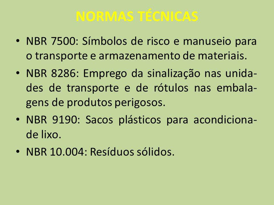 NORMAS TÉCNICAS NBR 7500: Símbolos de risco e manuseio para o transporte e armazenamento de materiais.