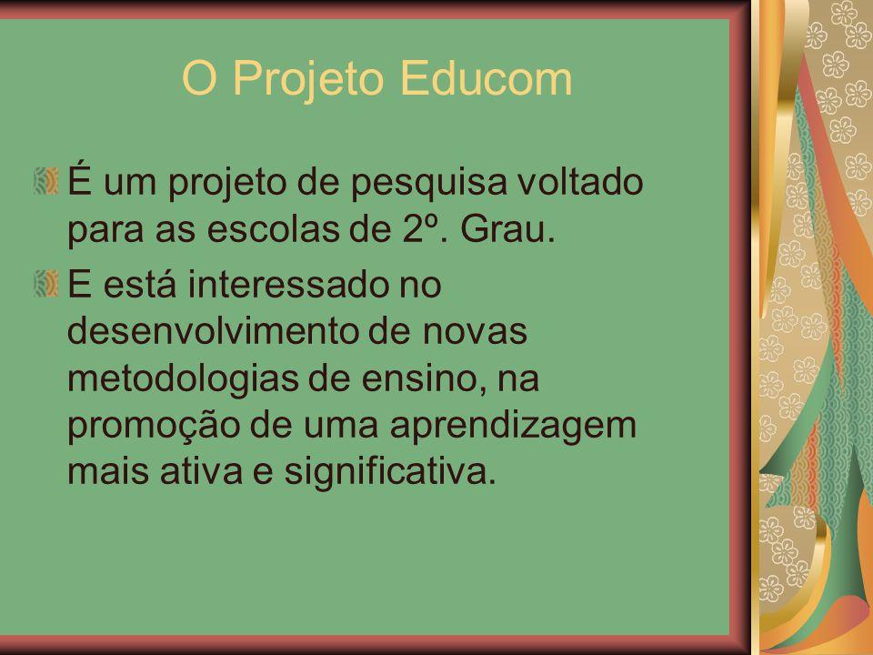 O Projeto Educom É um projeto de pesquisa voltado para as escolas de 2º. Grau.