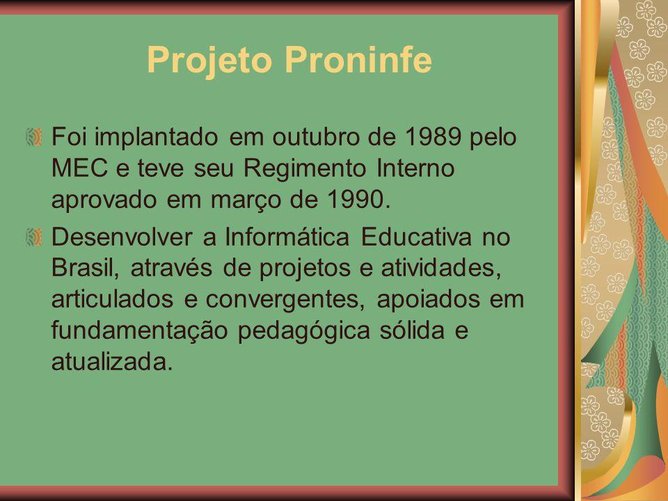Projeto Proninfe Foi implantado em outubro de 1989 pelo MEC e teve seu Regimento Interno aprovado em março de 1990.