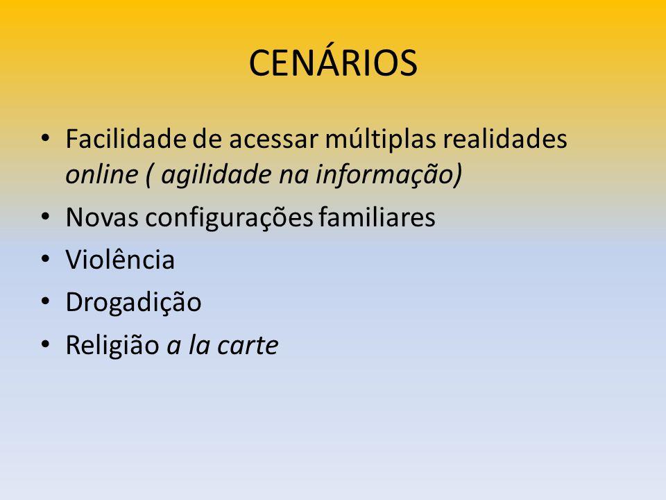 CENÁRIOS Facilidade de acessar múltiplas realidades online ( agilidade na informação) Novas configurações familiares.