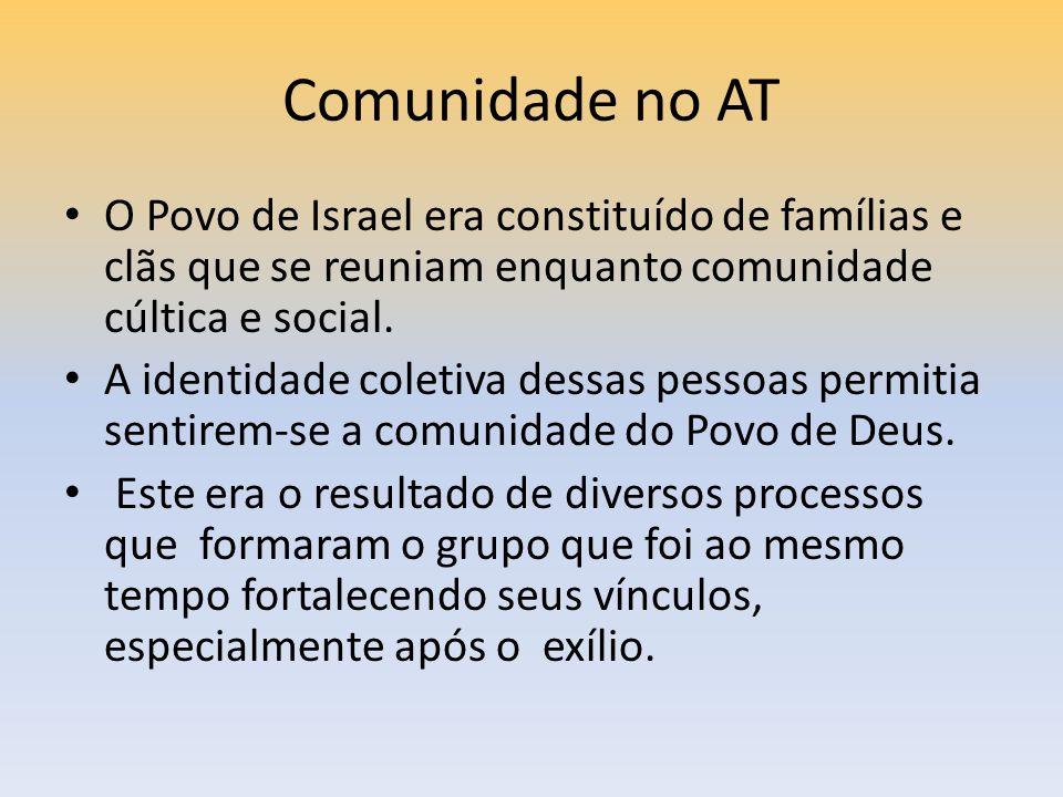 Comunidade no AT O Povo de Israel era constituído de famílias e clãs que se reuniam enquanto comunidade cúltica e social.