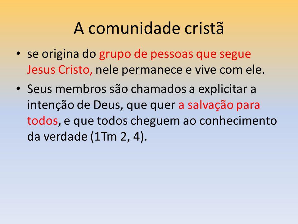 A comunidade cristã se origina do grupo de pessoas que segue Jesus Cristo, nele permanece e vive com ele.