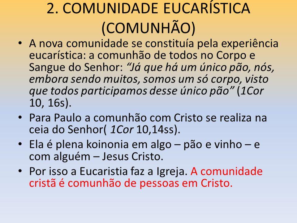 2. COMUNIDADE EUCARÍSTICA (COMUNHÃO)