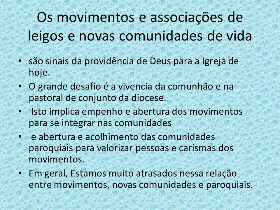 Os movimentos e associações de leigos e novas comunidades de vida