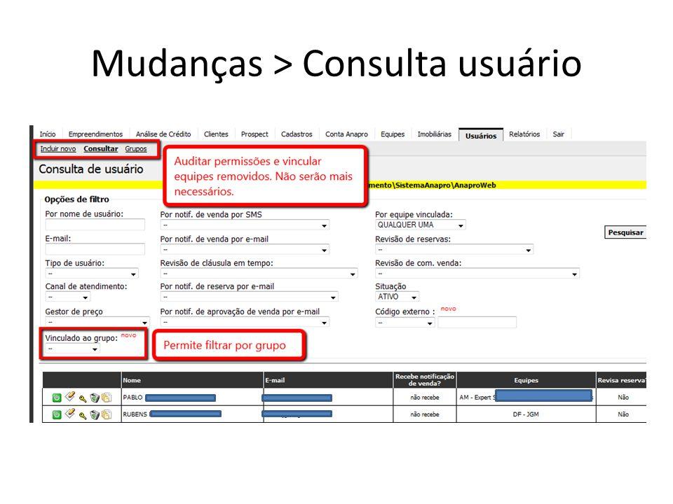 Mudanças > Consulta usuário