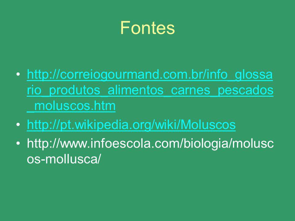 Fontes http://correiogourmand.com.br/info_glossario_produtos_alimentos_carnes_pescados_moluscos.htm.