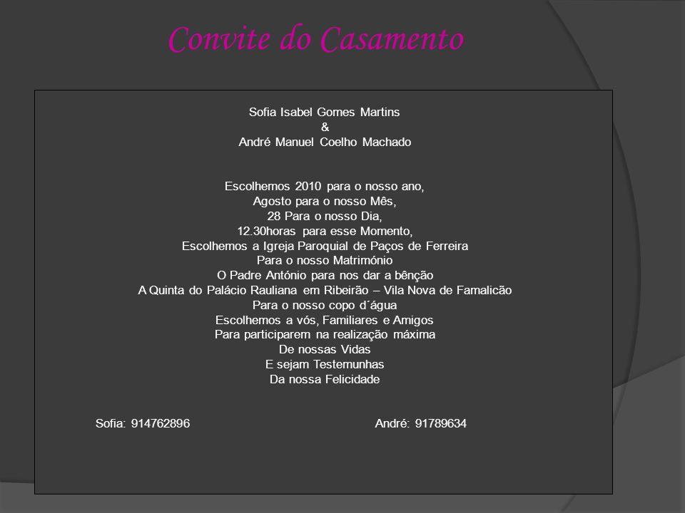 Convite do Casamento Sofia Isabel Gomes Martins &