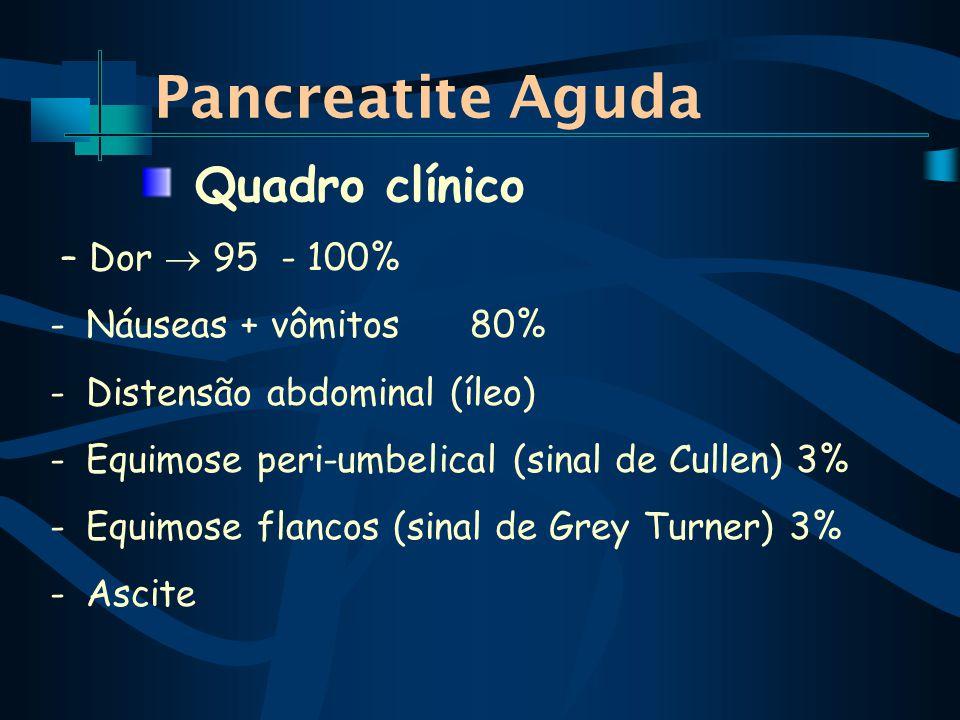 Pancreatite Aguda Quadro clínico – Dor  95 - 100%