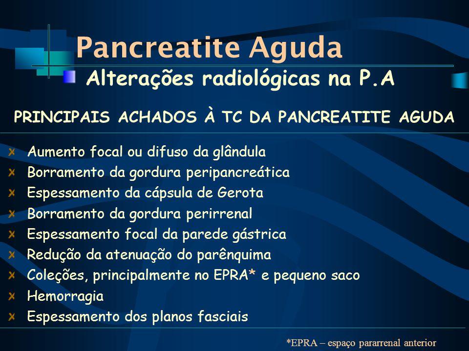 Pancreatite Aguda Alterações radiológicas na P.A