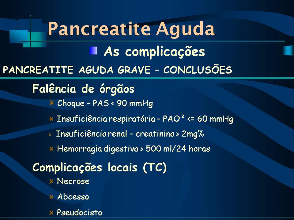 Pancreatite Aguda As complicações PANCREATITE AGUDA GRAVE – CONCLUSÕES